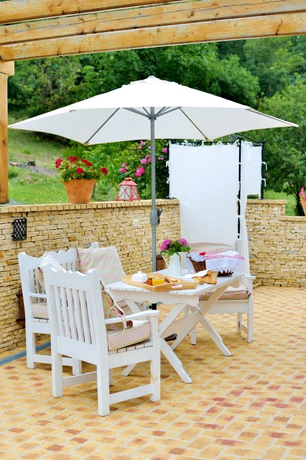 Eco Ház terrace at Catherine's Vineyard Cottages in