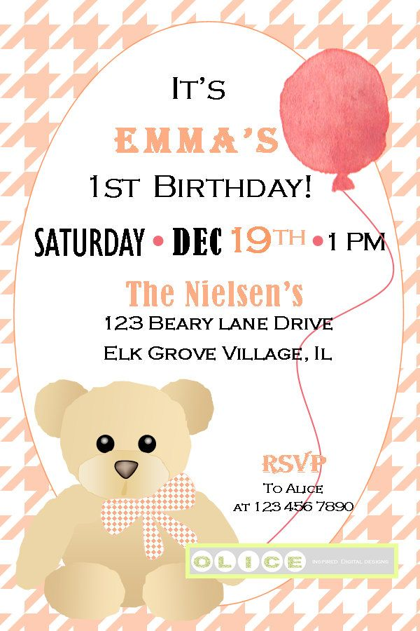Teddy Bear birthday invitation, Coral Houndstooth\'s pattern with ...