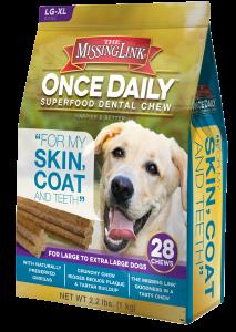 Once Daily Superfood Dental Chew Skin Coat Teeth Lg X Lg Dogs 28 Count 2 2 Lbs Dental Dog Chews Happy Dental