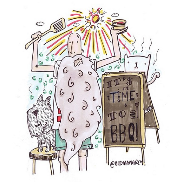 Suns out! Time to BBQ! #oldmangrey #doodle #bbq