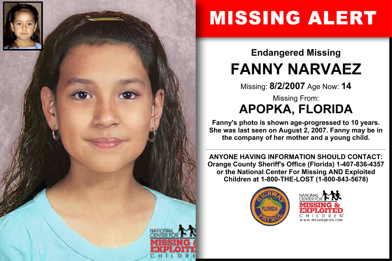 FANNY NARVAEZ, Age Now: 14, Missing: 08/02/2007  Missing