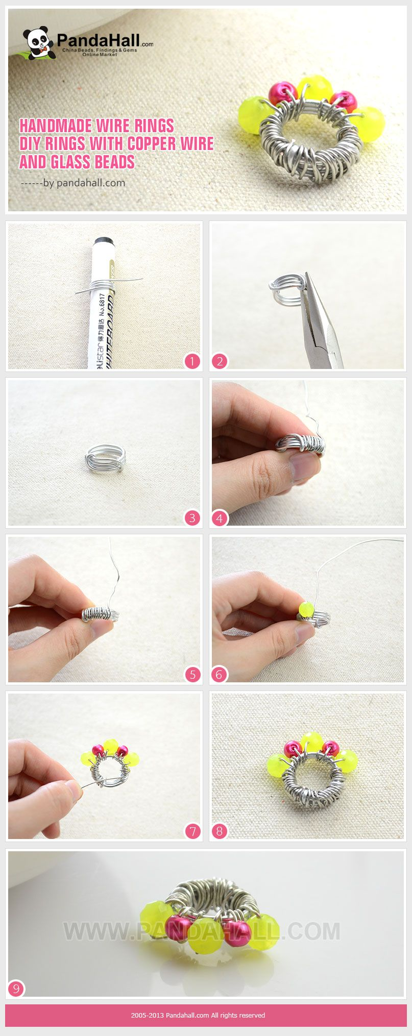 Handmade Wire Rings - DIY Rings with Copper Wire and Glass Beads ...