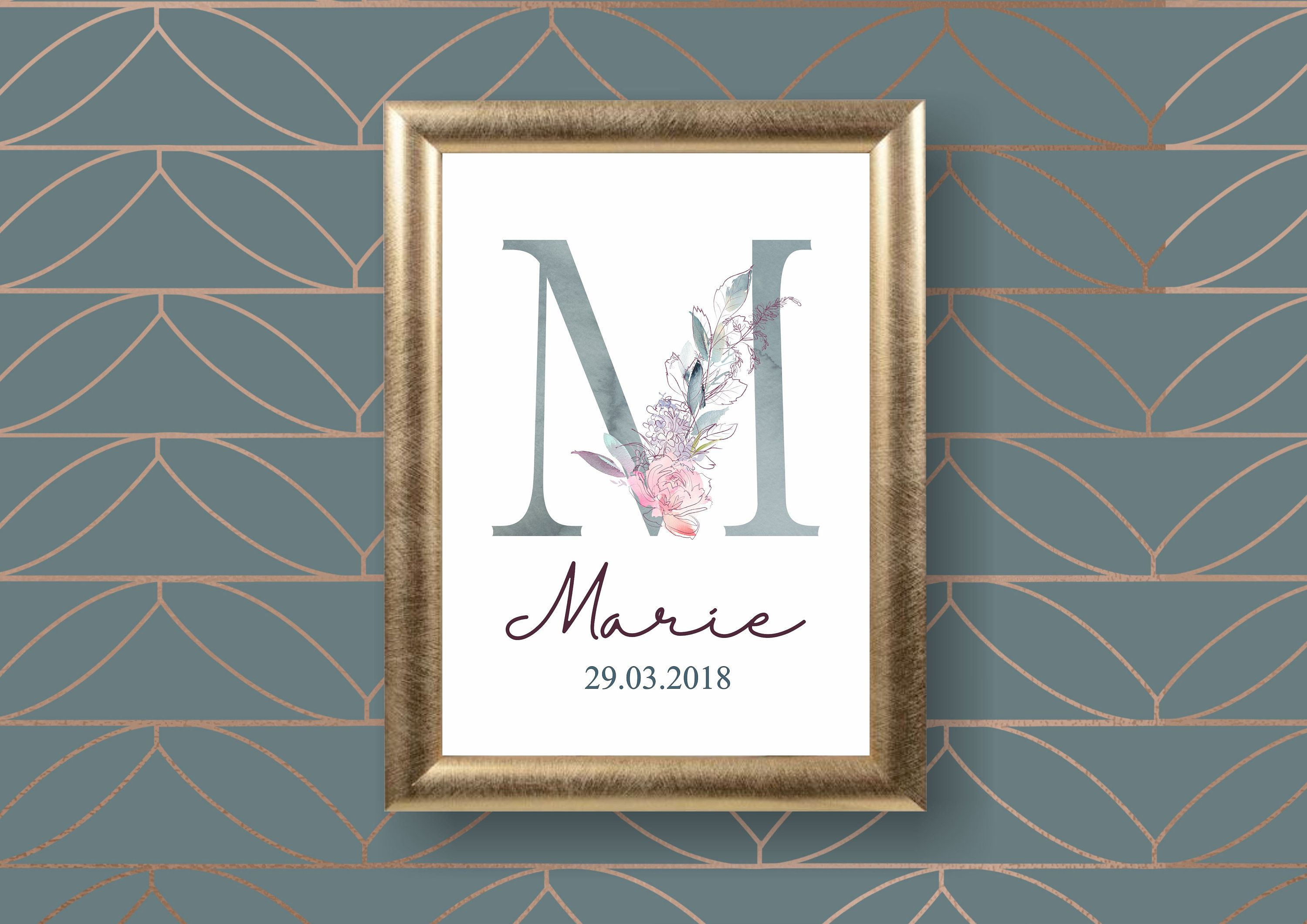 Monogram Art Print Personalized Wall Art Nursery Name Alphabet Typographic Print Mothers Day Gift Marie Mi Monogram Art Personalized Wall Art Art Prints