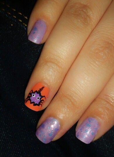 Spider...purple and orange...halloween..nails..inspired by ...