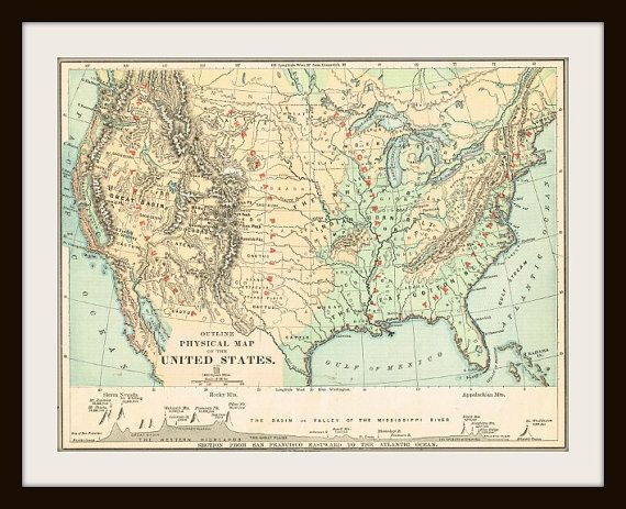 UNITED STATES Antique Map Buy Maps Get FREE Antique - Where to buy antique maps