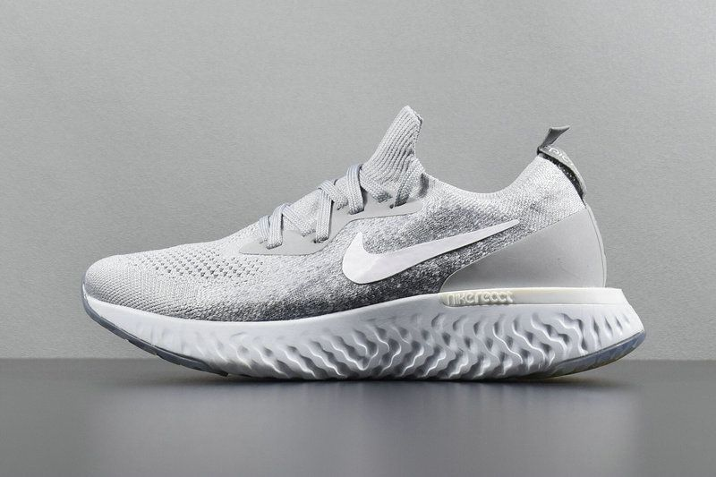 45db534c7a37e Populaire Unisex Nike Epic React Flyknit Wolf Grey White blanc AQ0070-002  Youth Big Boys Shoes