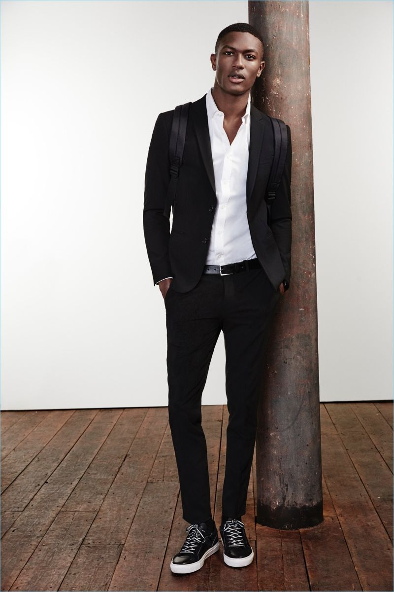 aa7de8734c8 Hamid Onifade is a sleek vision in a River Island black skinny suit jacket   60 and trousers  40.