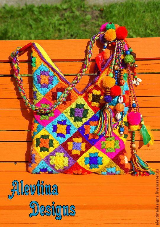 Варежки, митенки, перчатки ручной работы. Ярмарка Мастеров - ручная работа. Купить Вязаная сумка Карнавал радости. Handmade. Хиппи #backpacks