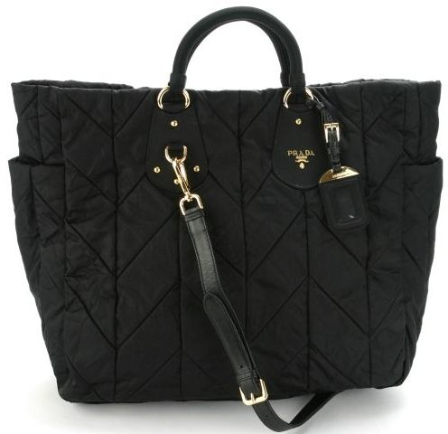 059601a292f8 celebrities with nylon bags | Prada BN1542 Tessuto Quilted Tote Bag – Black  | All Handbag Fashion