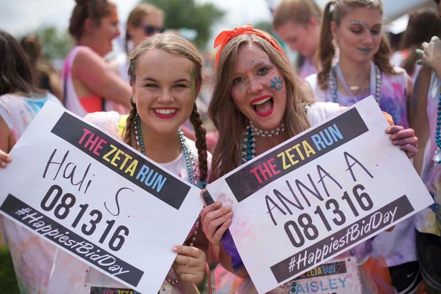 Happiest Bid Day On Earth Color Run Themed Zeta Tau Alpha Mississippi State University Bid Day Bid Day Themes Sorority Bid Day