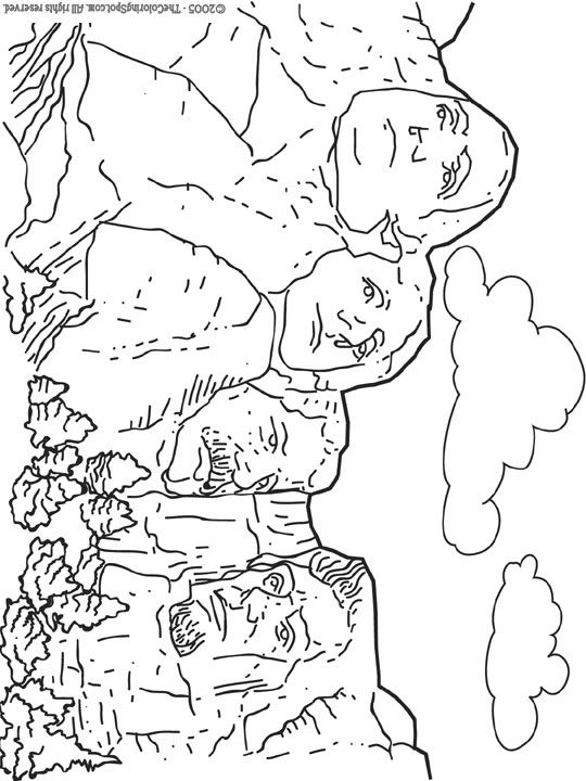 mount rushmore coloring page mt rushmore