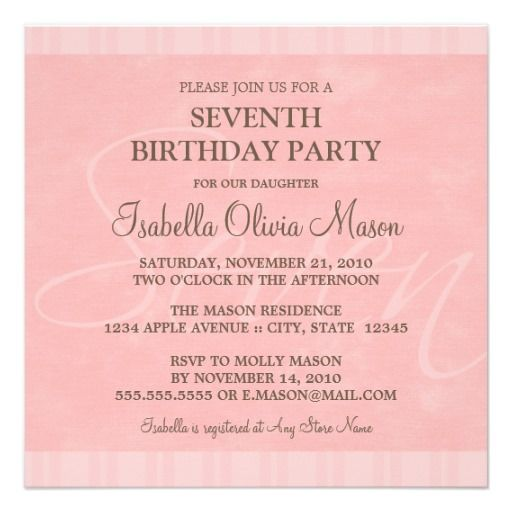 Nice 7th Birthday Party Invitation Wording Download this invitation