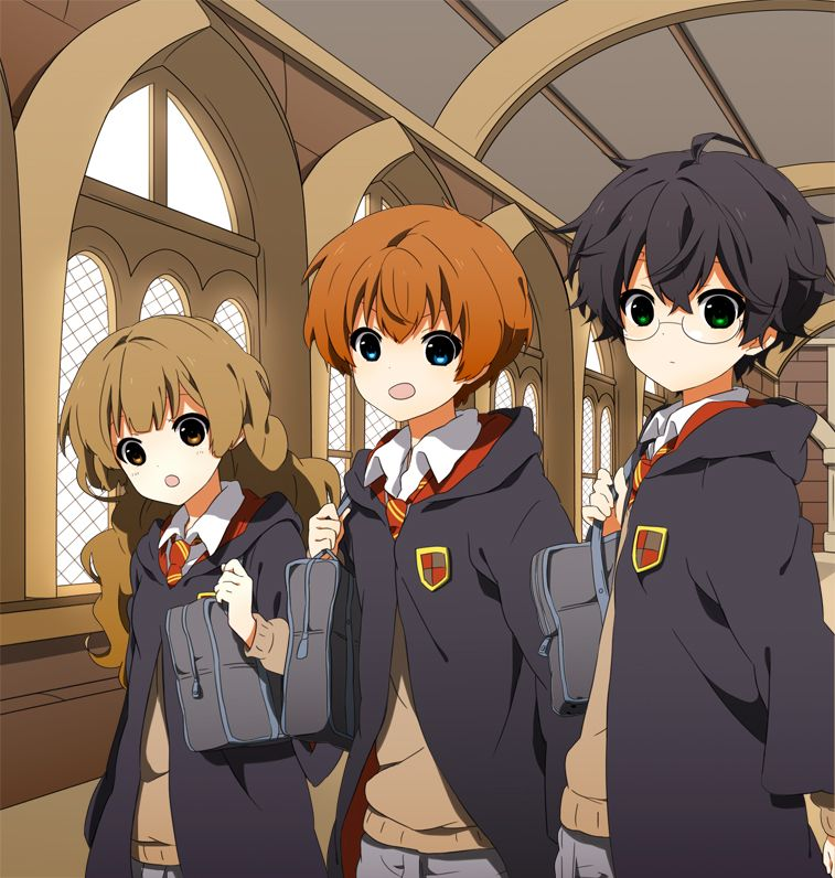 Anime Characters Hogwarts Houses : Harry potter hermione granger ron weasley