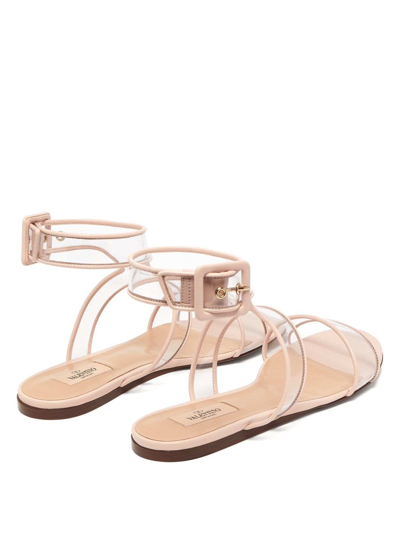 0101907cd932 Valentino injects subtle modernity into this crepe-pink pair of Dollybow  flat sandals. They