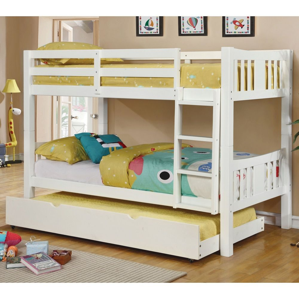 furniture of america pello 2 piece twin over twin bunk bed with