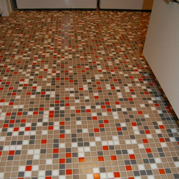 Brio Atomic Ranch Midcentury Palette Tile On A Laundry Room Floor
