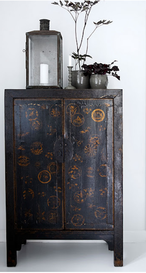 P | Antique with Modern Vintage Chinese Cabinet - P Antique With Modern Vintage Chinese Cabinet Hand Painted