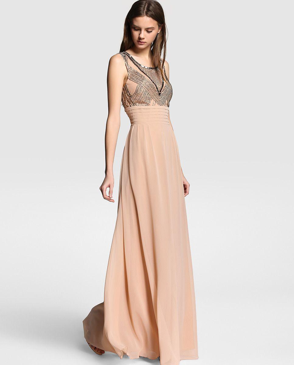 bfb41a07e Vestido de mujer Tintoretto en color nude con strass Vestidos De Fiesta  Largos