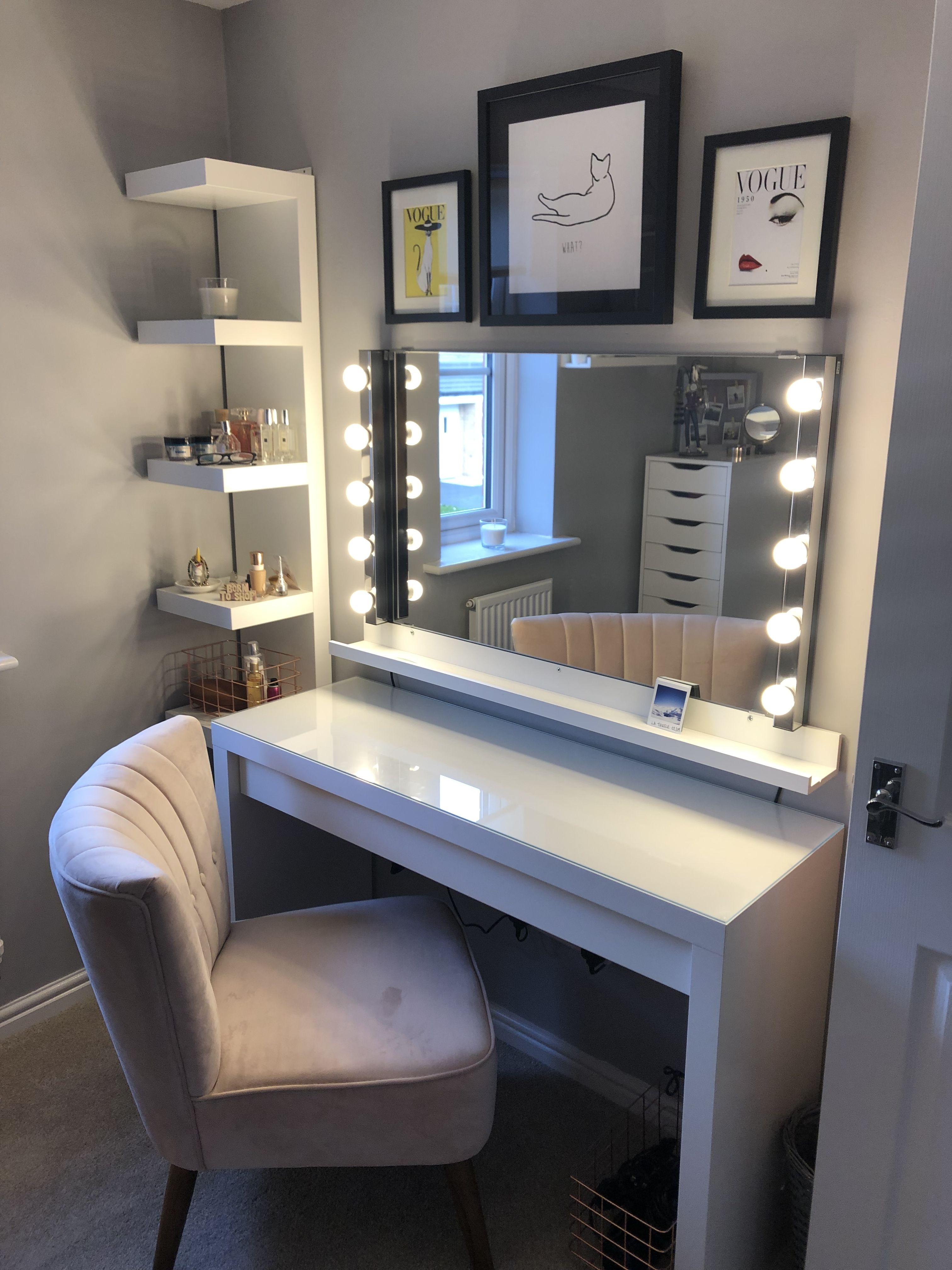 Blush Pink And Grey Makeup Room