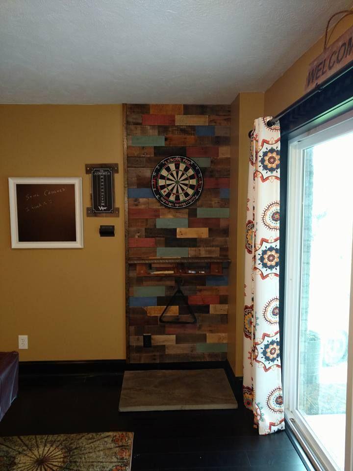 Pallet Wood Dart Board Wall In 2019 Game Room Basement