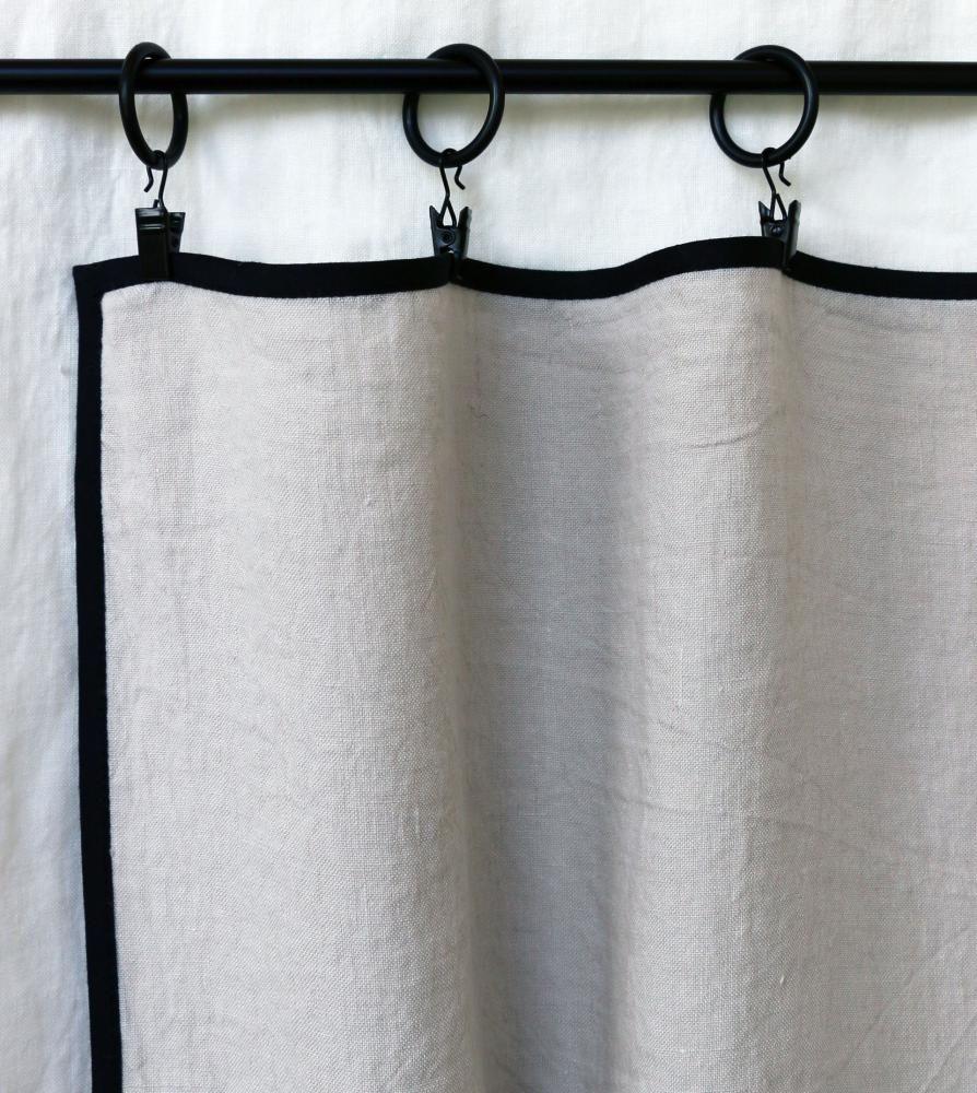 rideau avec biais noir gris perle