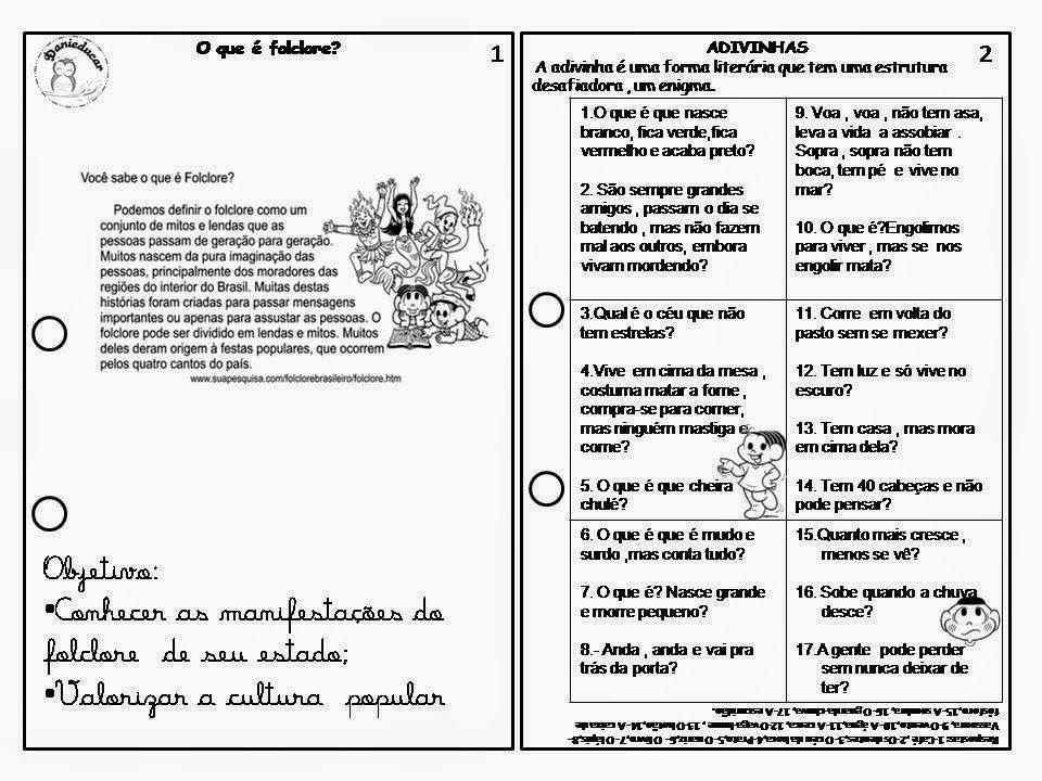 Livro Do Folclore Para Imprimir Adivinhas Cantigas De Roda
