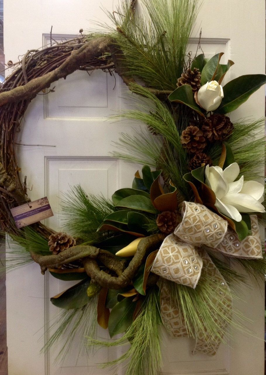 Faux Magnolia Wreath With Jeweled Burlap Bow And Pine
