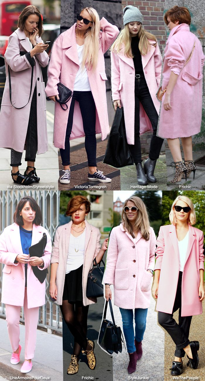 In Fashion Pink Coats Blue Is In Fashion This Year Pink Coat Outfit Winter Pink Coat Street Style Pink Jacket Outfit [ 1300 x 700 Pixel ]