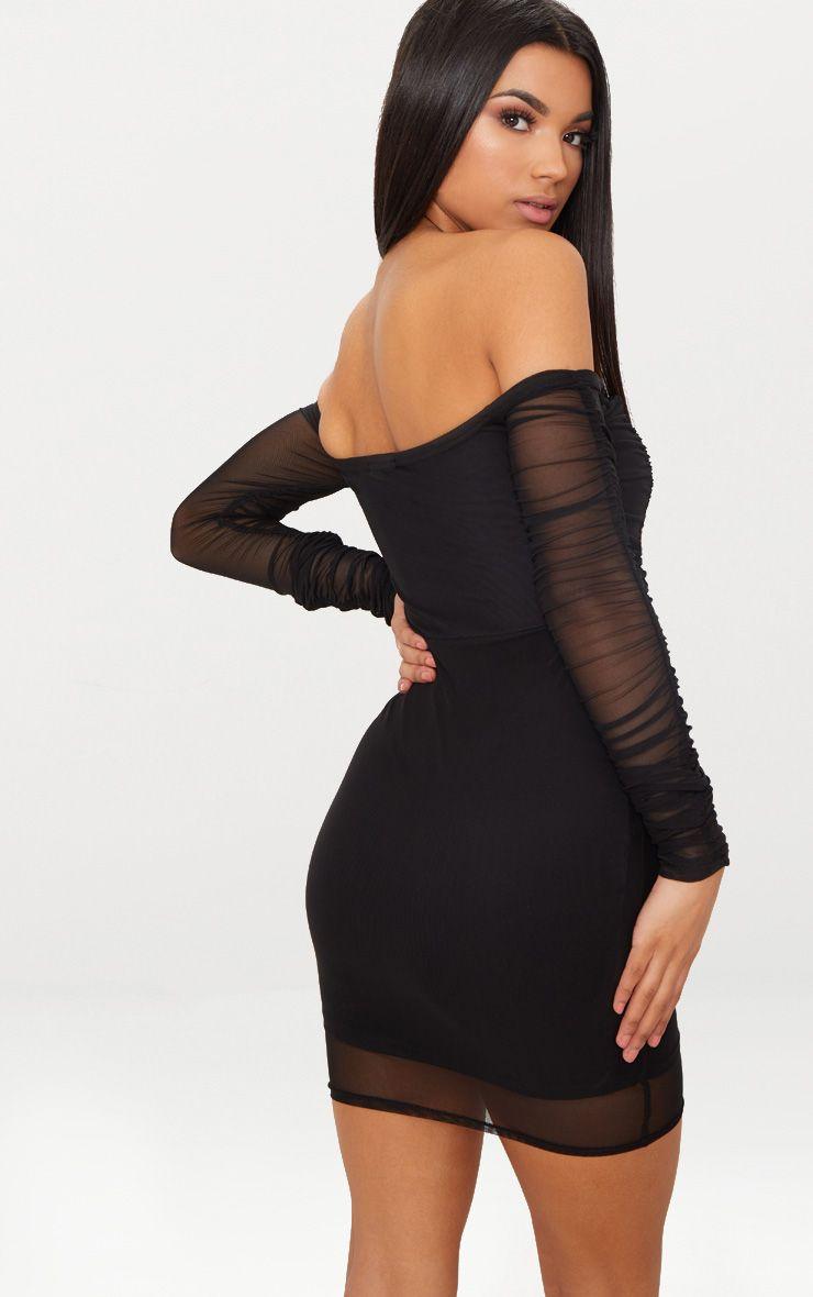 7b24dda118b Black Ruched Mesh Bardot Bodycon Dress in 2019 | Sexy ladies ...