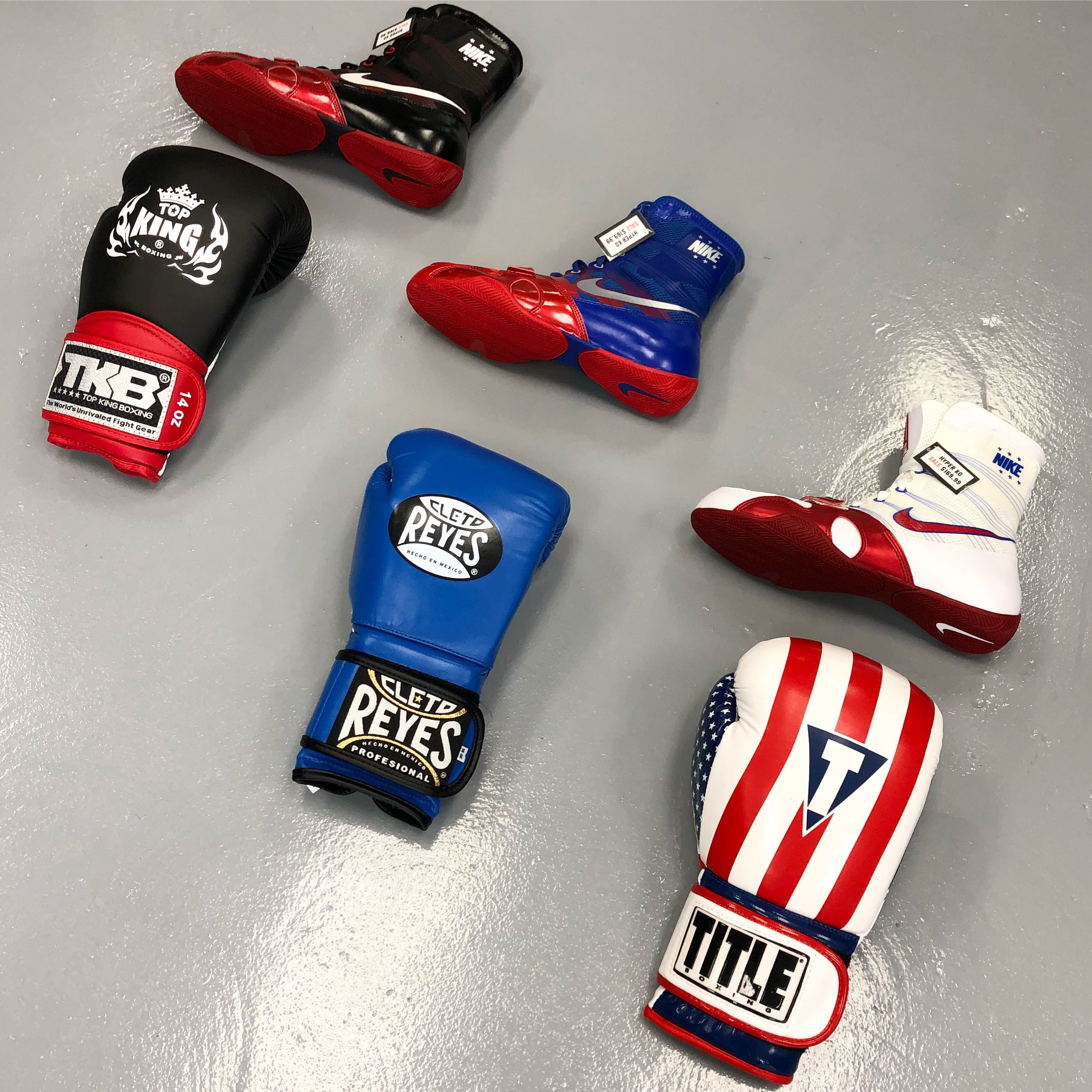 Nike Boxing Shoes, Cleto Reyes Gloves, Title Boxing Gloves