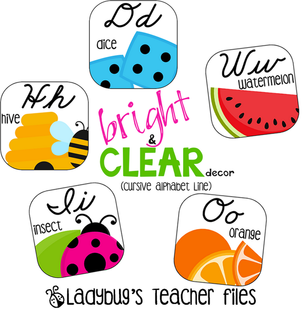 English In Italian: Bright And Clear Decor (Cursive Alphabet Line)