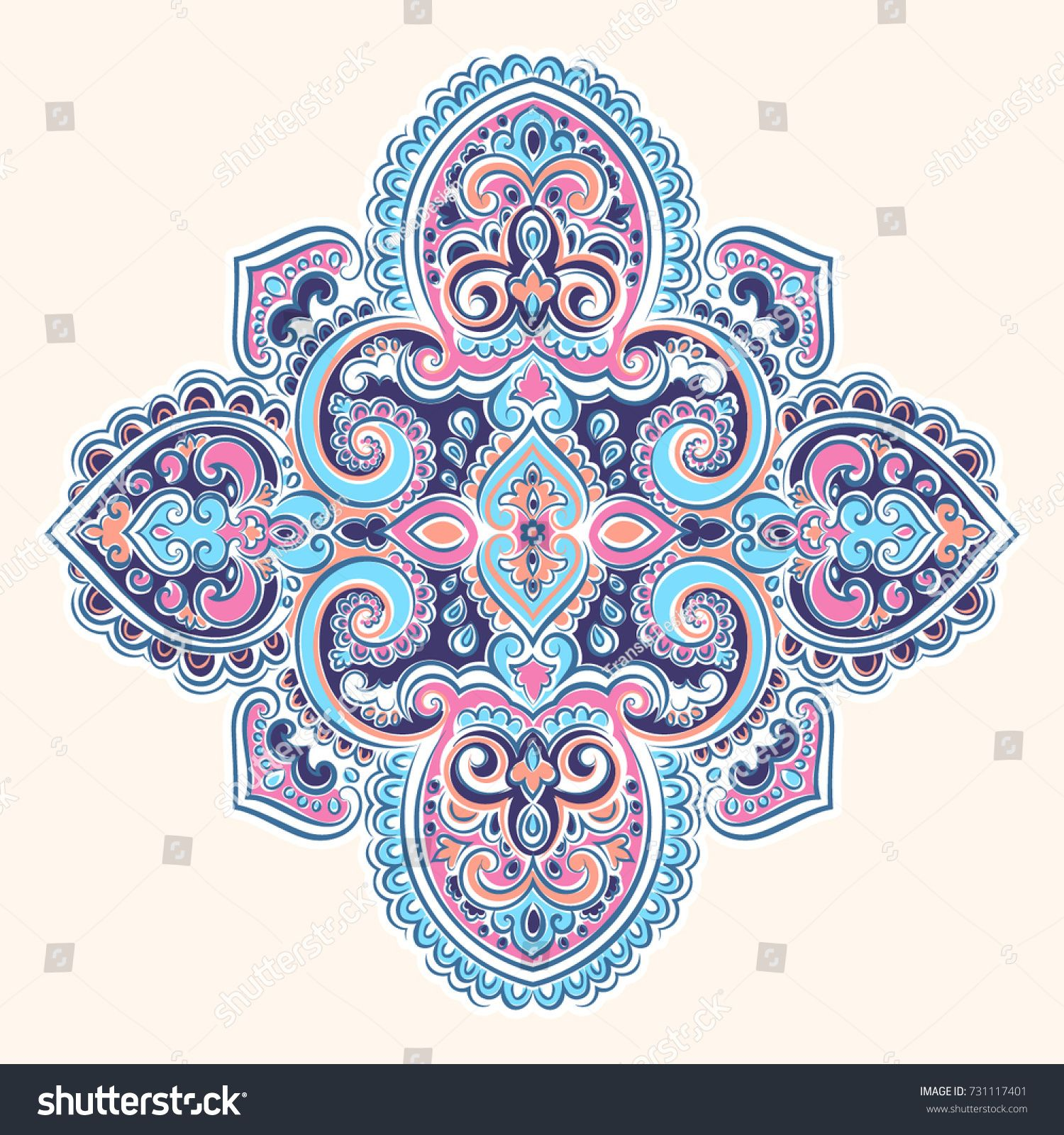Beautiful Indian Indian mandala. Vector Henna tattoo style. Can be ...