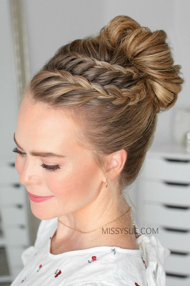 Double point braid high bun -  Doppelspitze Braid High Bun »Hairstyles 2019 New hairstyles and hair colors  - #Braid #Bun #Double #High #NaturalCurlyHair #NaturalHair #point #ProtectiveStyles #SceneHair