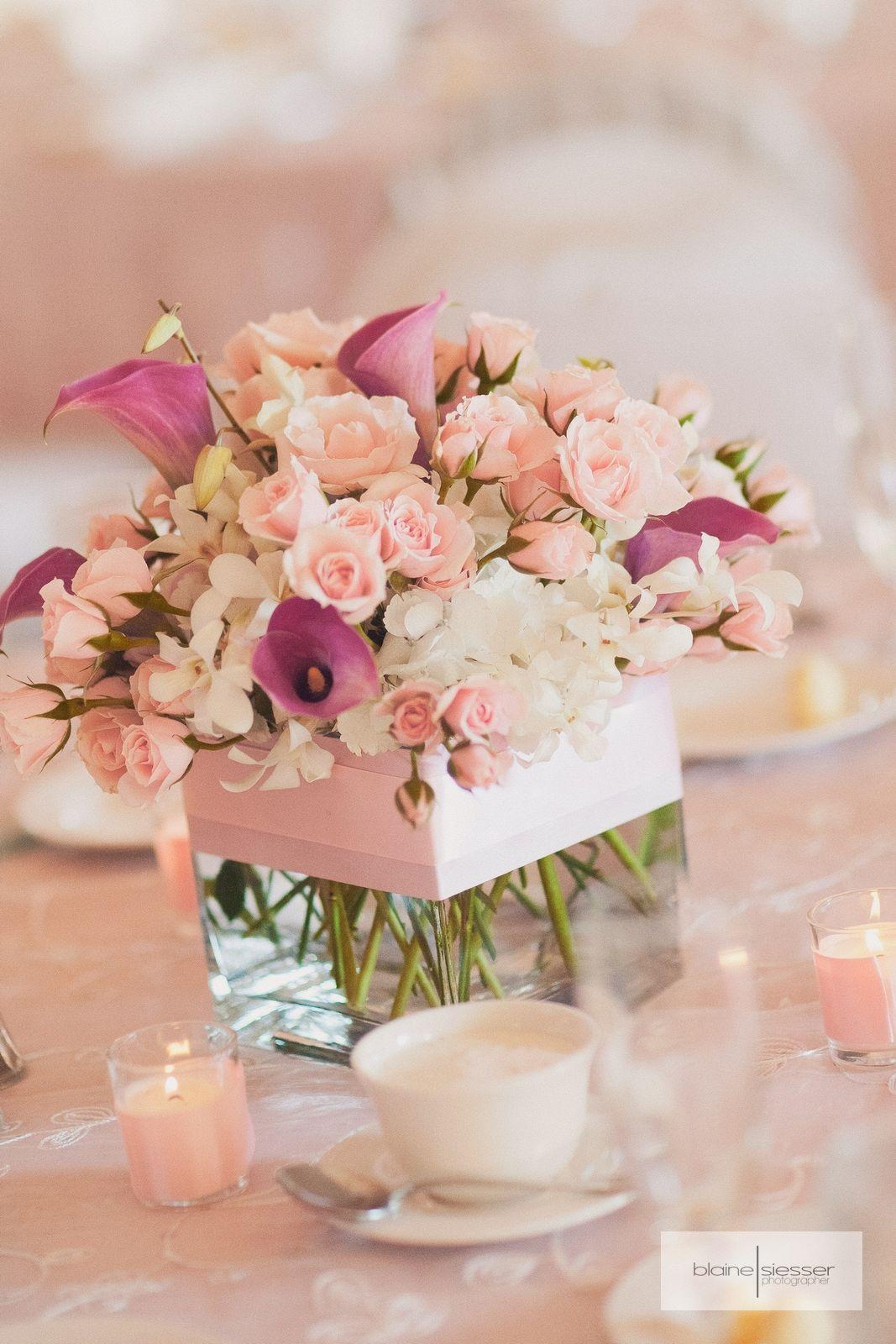 Pretty Pink And White Wedding Reception Floral Vase Arrangement