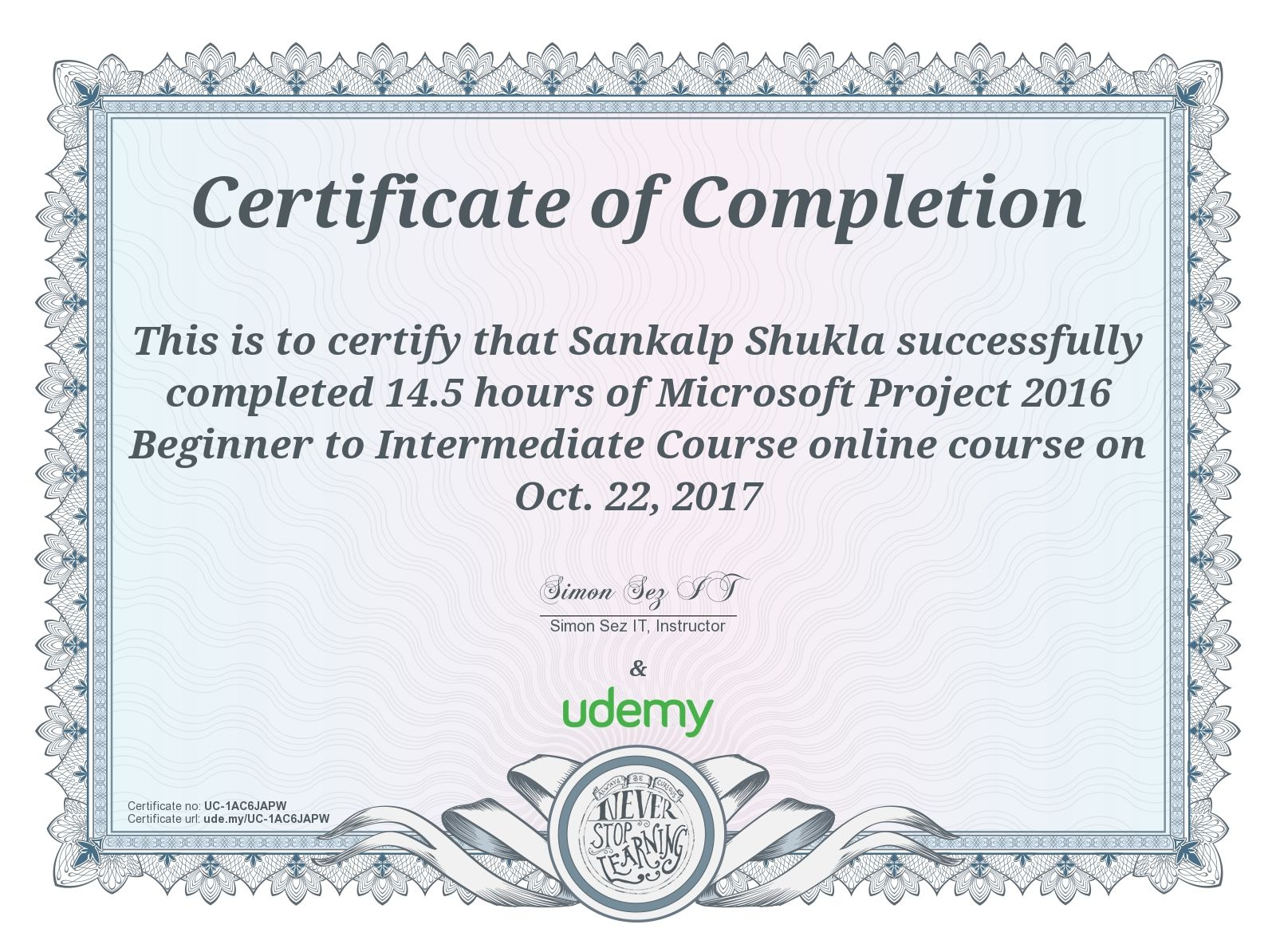 Building Completion Certificate Sample Fascinating Online Courses  Anytime Anywhere  Udemy  Sankalp  Pinterest .
