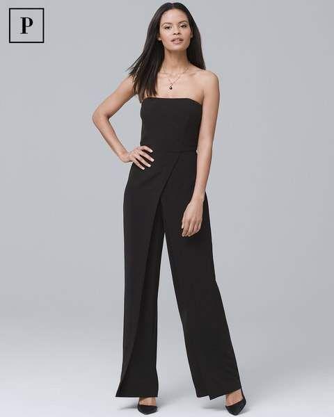 8e1d58e12fb White House Black Market Petite Convertible Black Strapless Split-Leg Jumpsuit  Black Strapless Jumpsuit