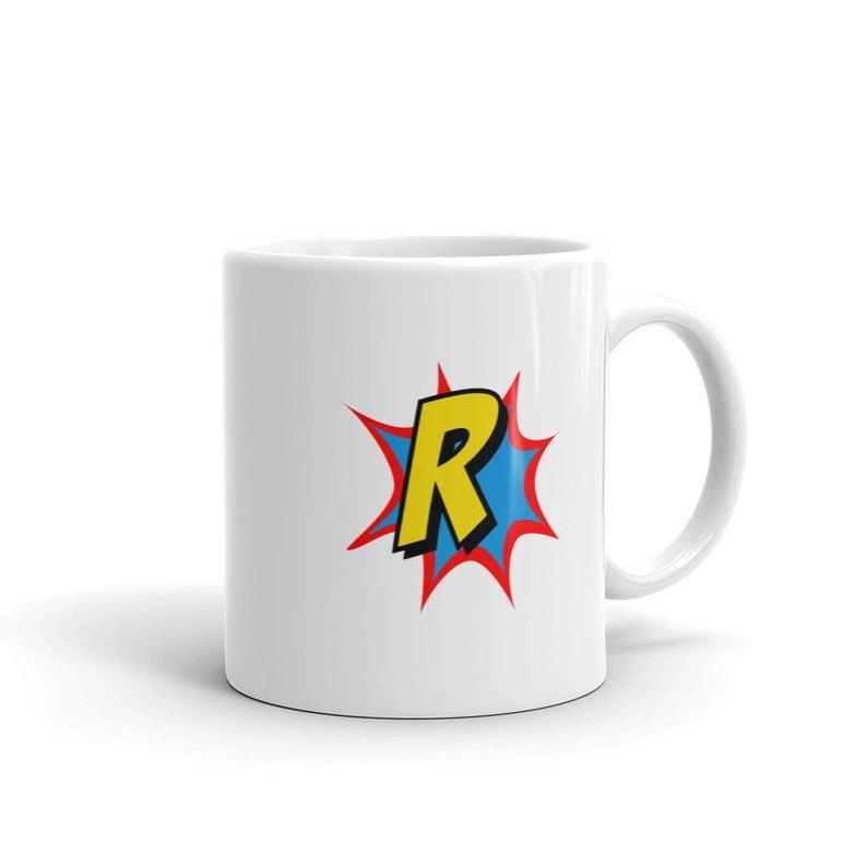 Comic Mug Superhero Gift Letter R   Coffee Mug, Travel Mug, Funny Quote Mugs,Birthday Gift For Men & Women, Monogram Mug #superherogifts