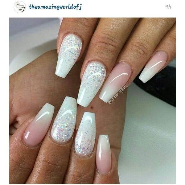 Christmas Acrylic Nails Coffin Shape: Soft Pink And White Coffin Shaped Nails