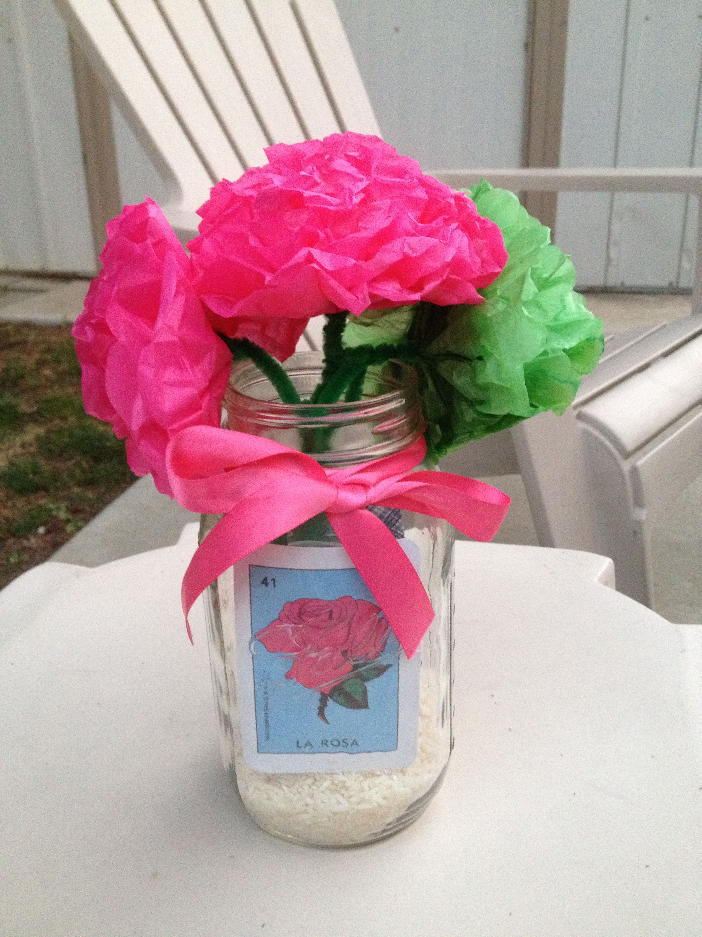 Mason Jar centerpiece for Mexican party. Paper flowers with Loteria ...