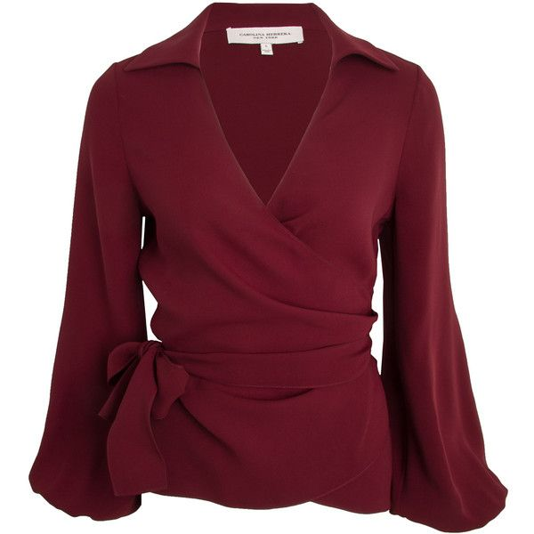 a3f14b273ccf1 Burgundy Wrap Blouse (17.191.840 IDR) ❤ liked on Polyvore featuring tops
