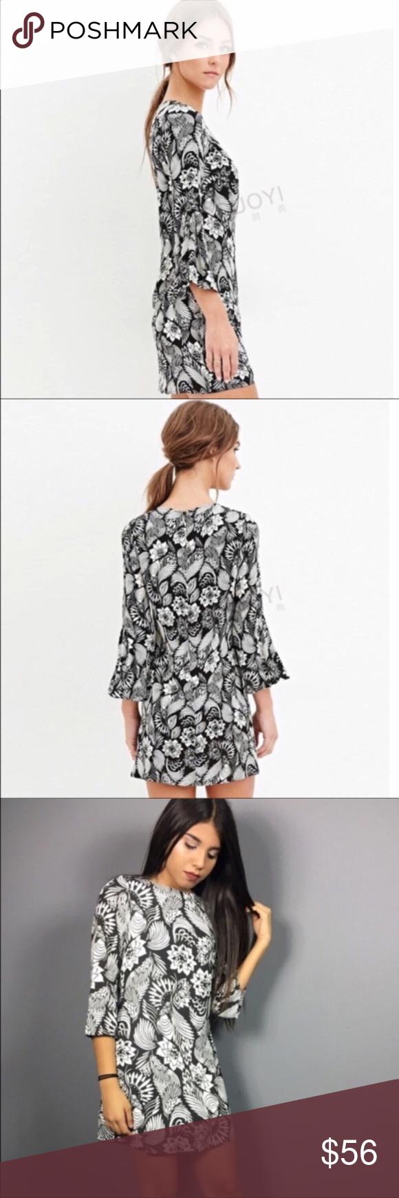 Beautiful Floral Print Mini Dress Beautiful Black And White