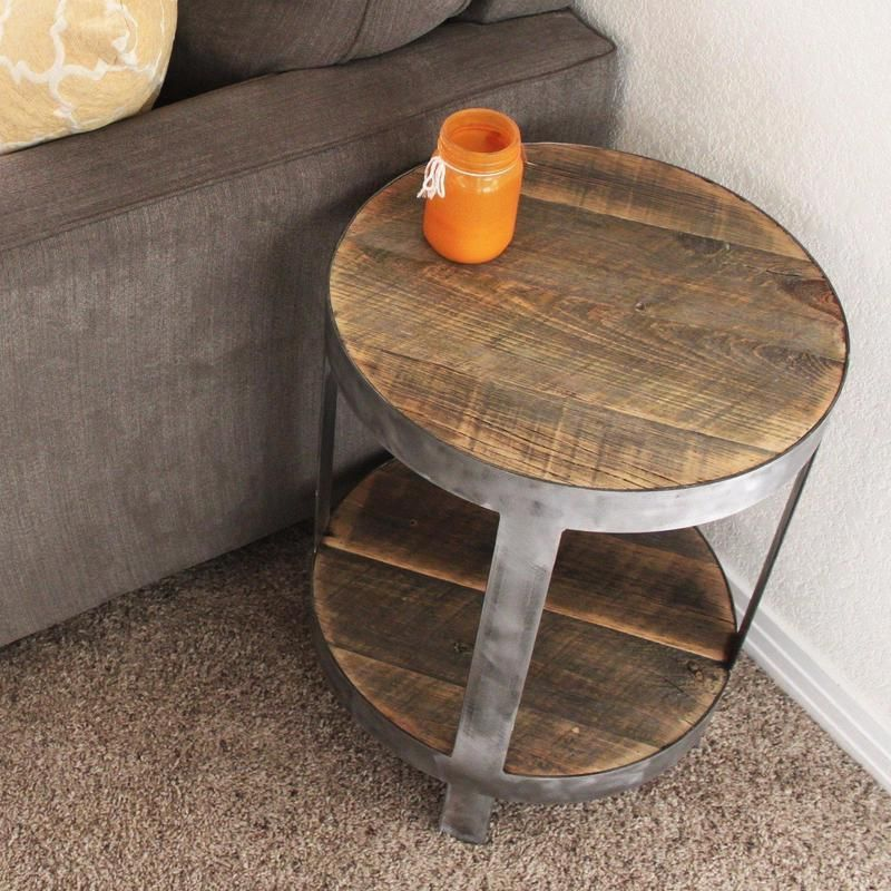 BiLevel Round Industrial Side Table Reclaimed wood side