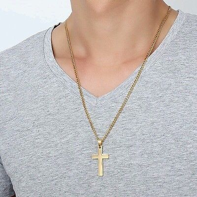 Necklace with Cross Curb Chain Cross Necklace Gold Filled Necklace Mens Necklace Mens Gift Men/'s Chain Mens Jewelry Jewelry for Men