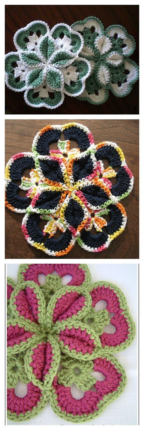 Crochet Flower Starburst Hotpad Free Pattern | Crochet flowers, Free ...