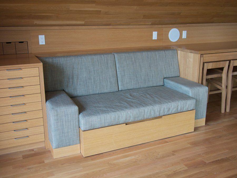 Fine carpentry inventive builtin sofa bed built in