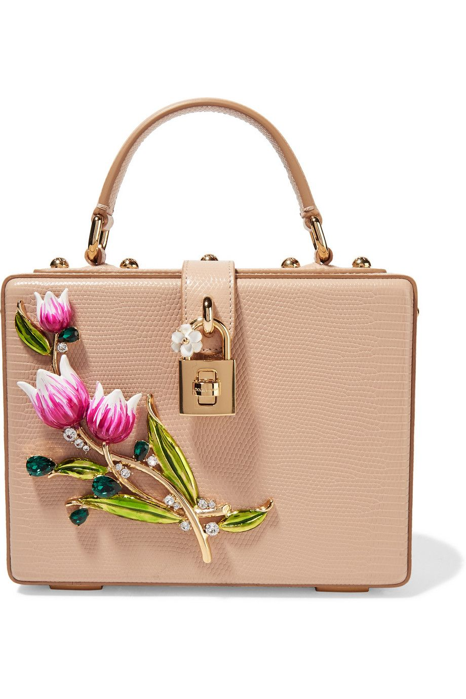 Dolce   Gabbana lizard-effect-leather shoulder bag with painted tulips made  in Italy €1,950 (2016) 47b8902492