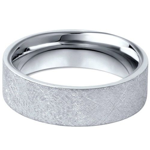 950 Platinum Mens 6mm Flat Brushed Wedding Band By Pompeii3