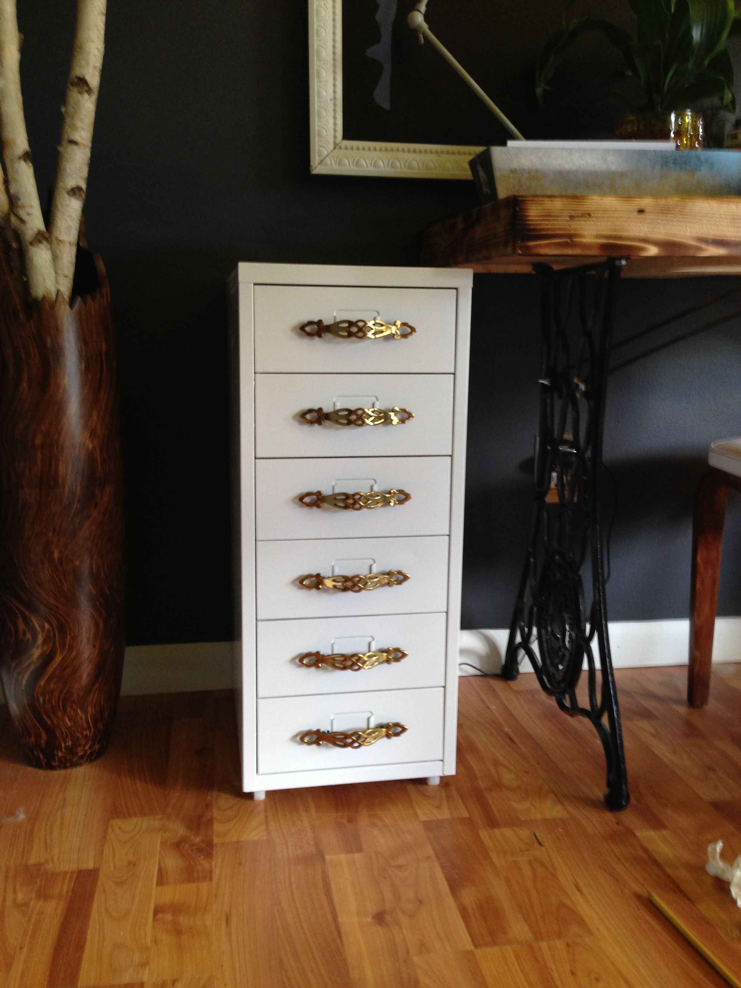 Repainted Ikea Helmer Cabinet With New Handles From