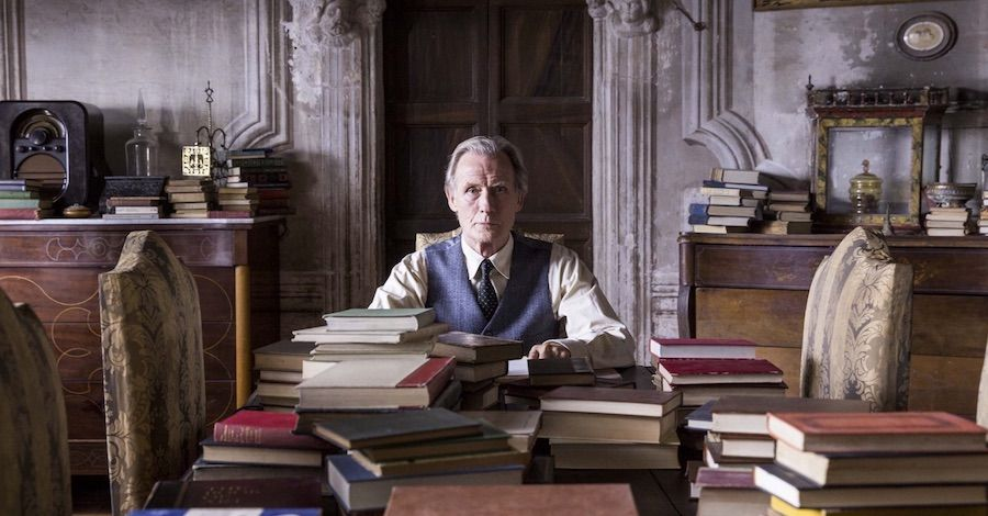 I can't imagine that Penelope Fitzgerald's marvellous early novel THE BOOKSHOP survives filming with its dignity intact, but I love this still of Bill Nighy...