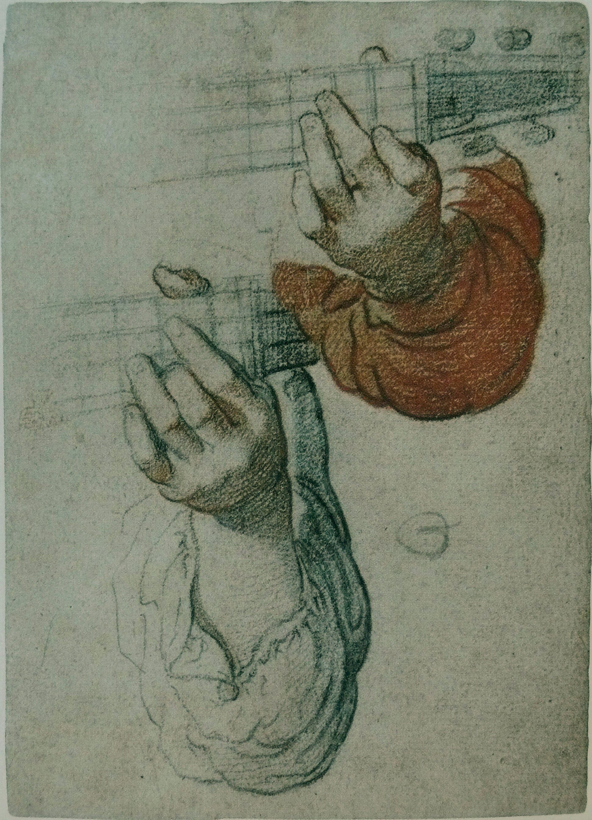 Attribuito a Francesco Vanni (1563–1610), Two studies of hands playing a Lute, anni '90 del XVI sec, Pierre noire et sanguine, 18.8 × 13.4 cm, Musée des Beaux-Arts, Marseille, France Drawing acquired by the French state in 2004 for the Musée des Beaux-Arts of Marseille.